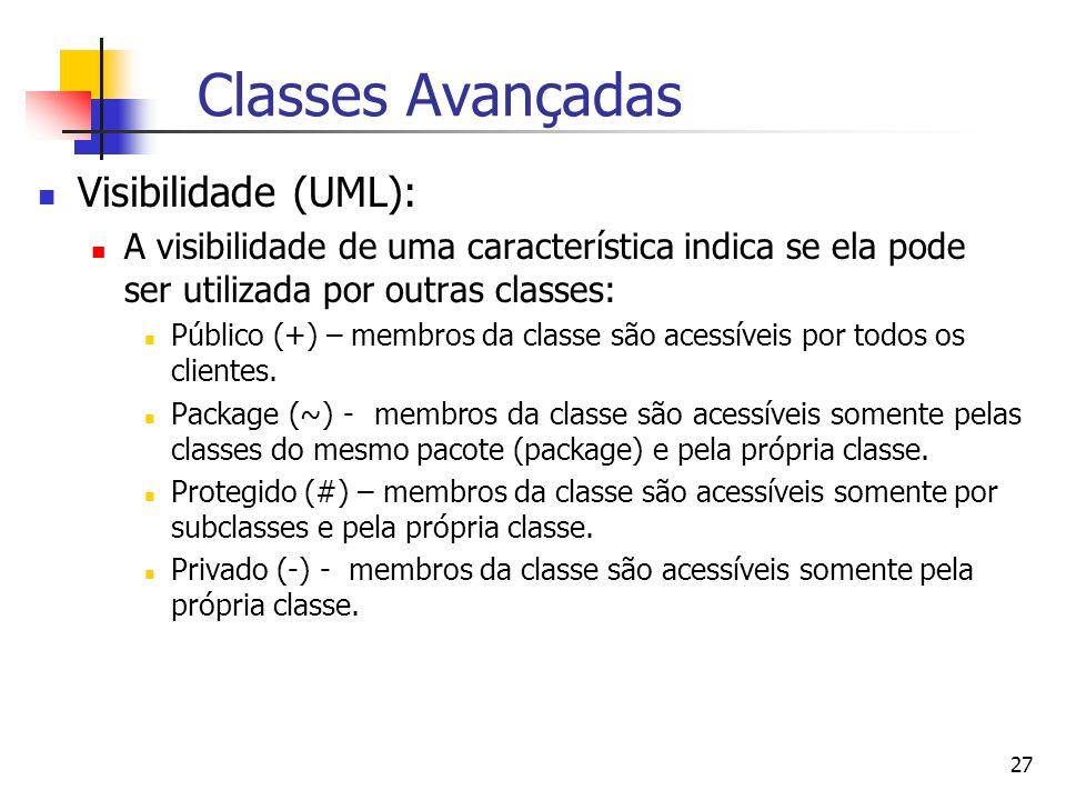 Classes Avançadas Visibilidade (UML):