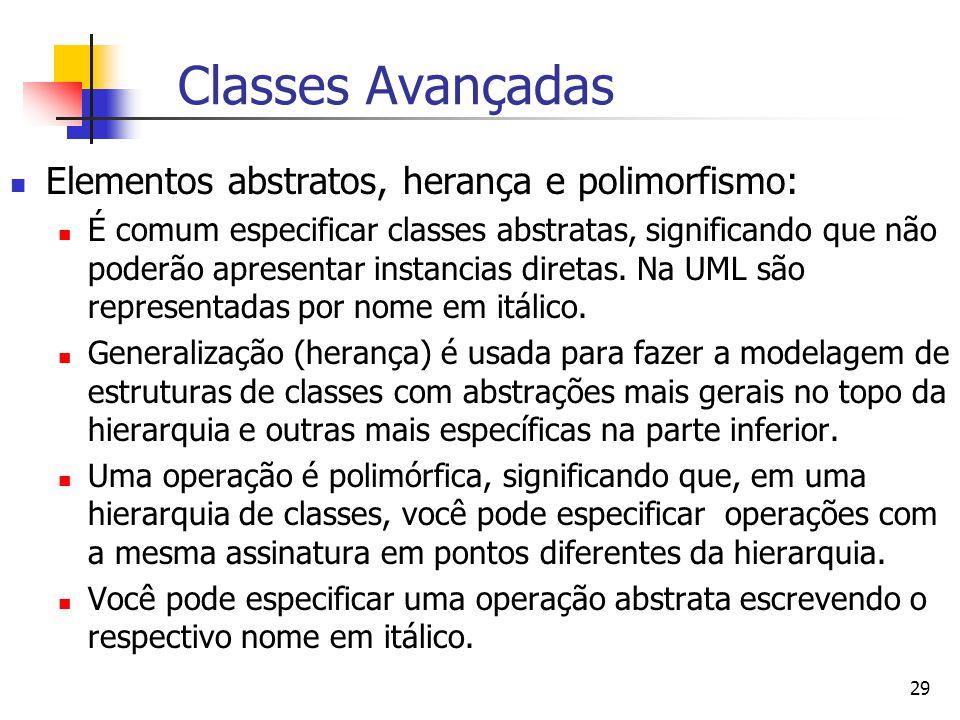 Classes Avançadas Elementos abstratos, herança e polimorfismo: