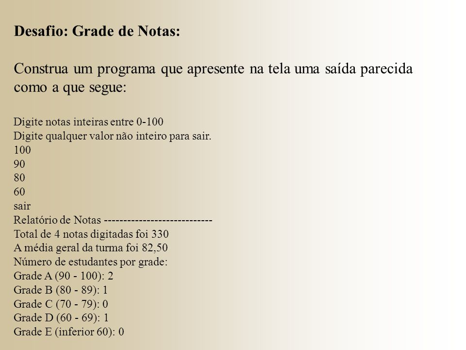 Desafio: Grade de Notas:
