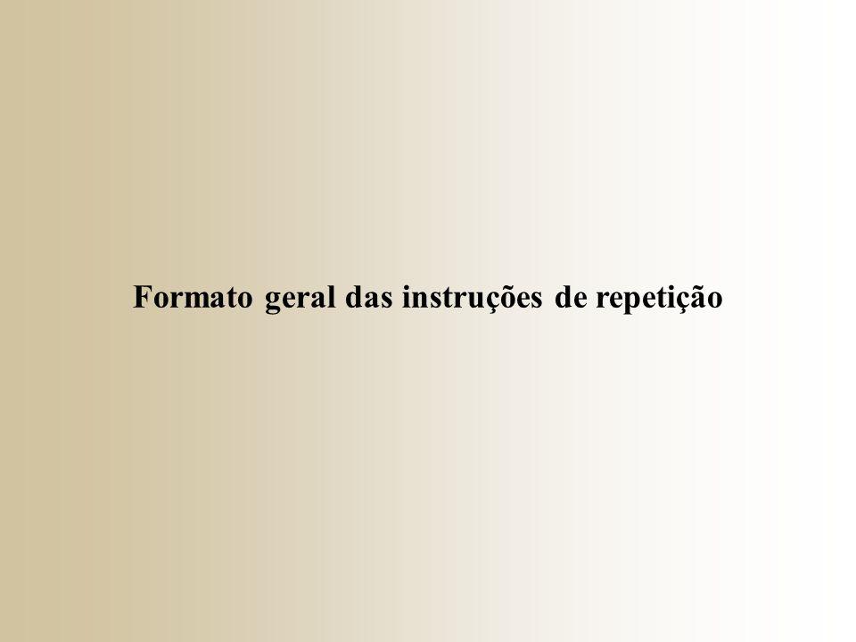 Formato geral das instruções de repetição