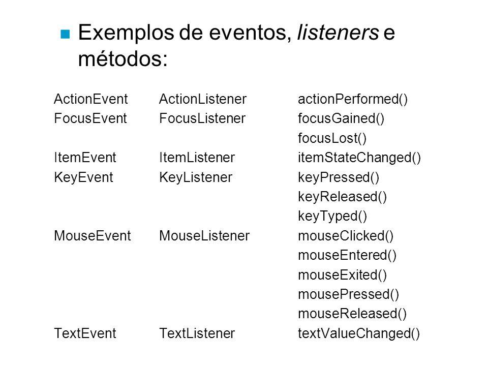 Exemplos de eventos, listeners e métodos: