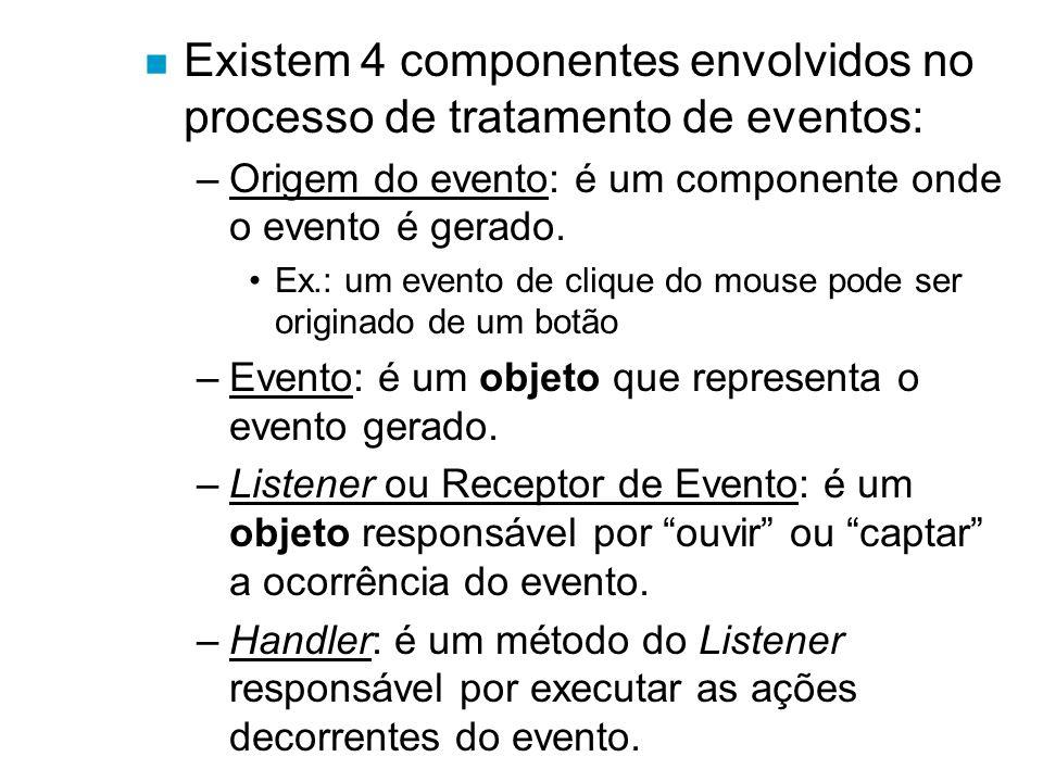 Existem 4 componentes envolvidos no processo de tratamento de eventos: