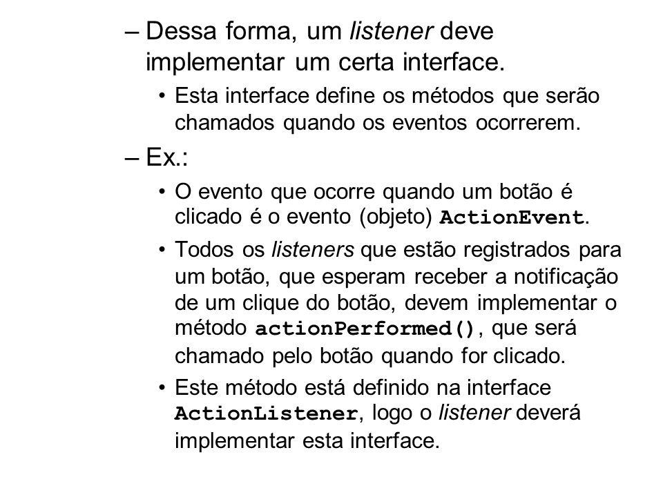 Dessa forma, um listener deve implementar um certa interface.