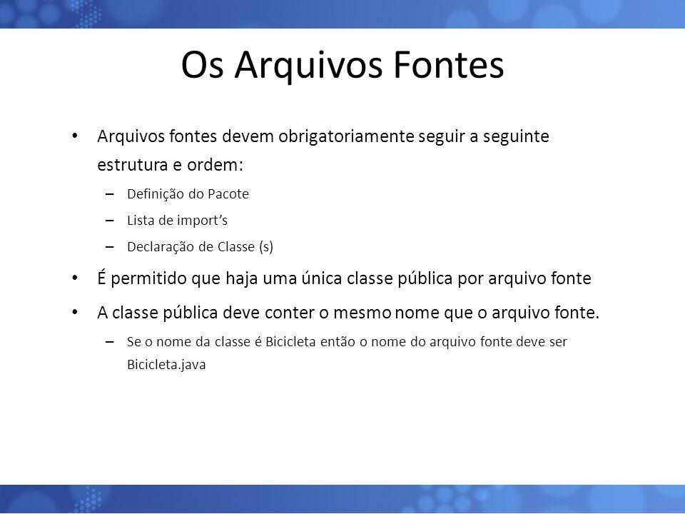 Os Arquivos Fontes Arquivos fontes devem obrigatoriamente seguir a seguinte estrutura e ordem: Definição do Pacote.