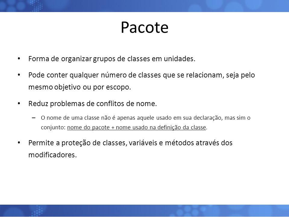 Pacote Forma de organizar grupos de classes em unidades.
