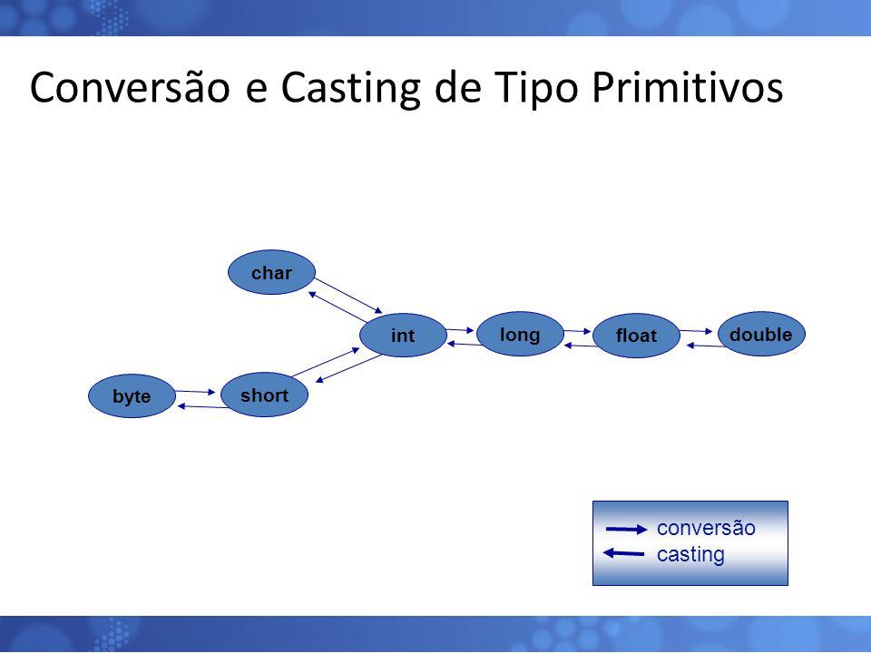 Conversão e Casting de Tipo Primitivos