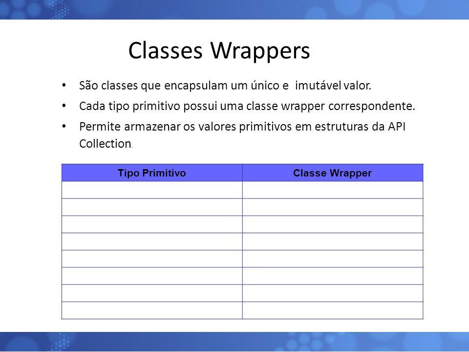 Classes Wrappers São classes que encapsulam um único e imutável valor.