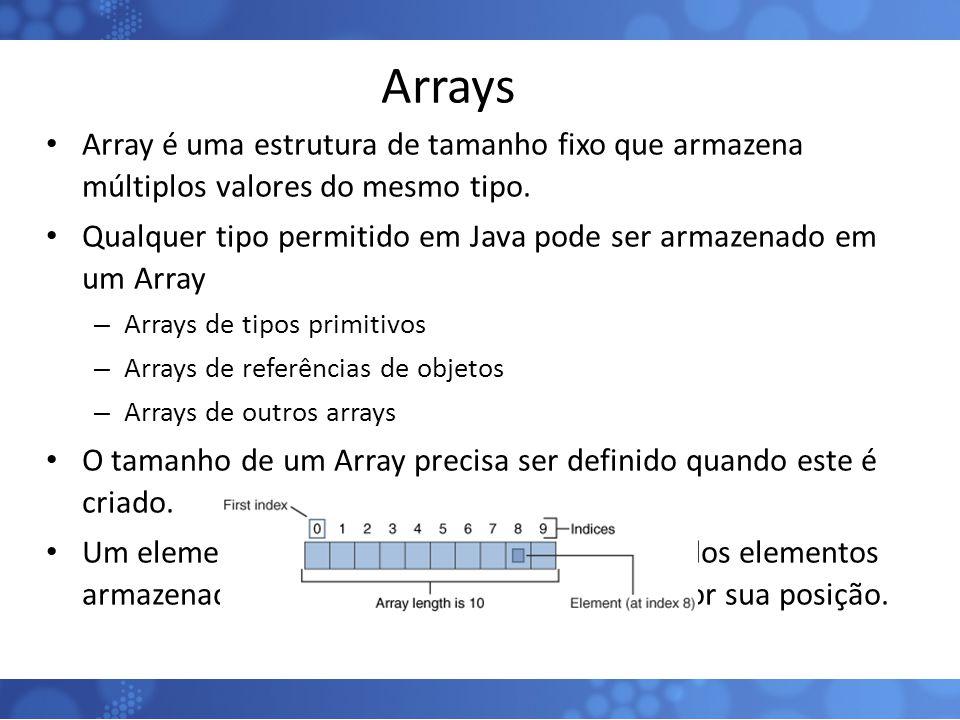 Arrays Array é uma estrutura de tamanho fixo que armazena múltiplos valores do mesmo tipo.