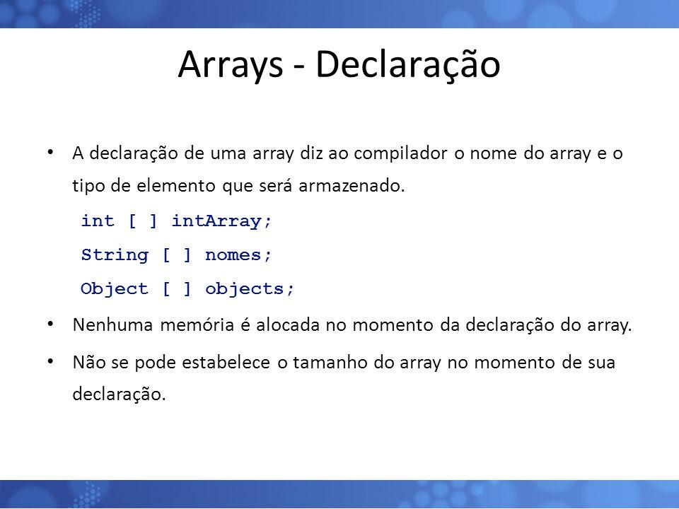Arrays - Declaração A declaração de uma array diz ao compilador o nome do array e o tipo de elemento que será armazenado.