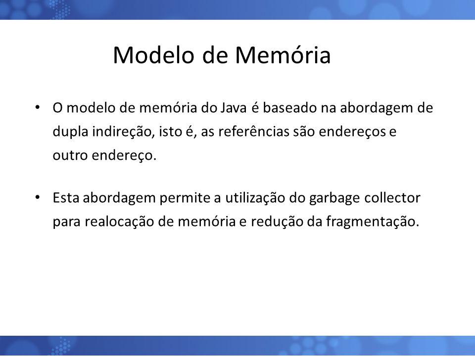 Modelo de Memória O modelo de memória do Java é baseado na abordagem de dupla indireção, isto é, as referências são endereços e outro endereço.