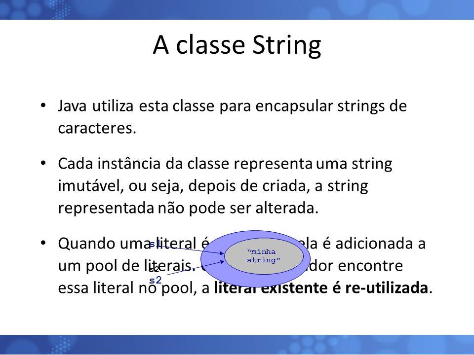 A classe String Java utiliza esta classe para encapsular strings de caracteres.