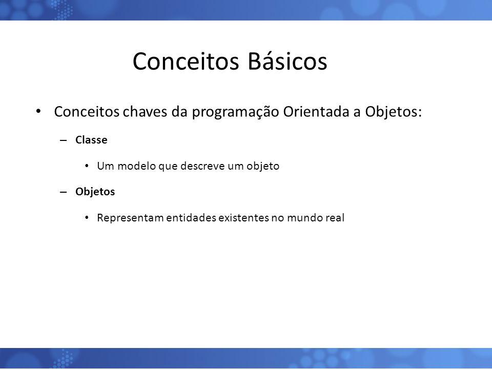 Conceitos Básicos Conceitos chaves da programação Orientada a Objetos: