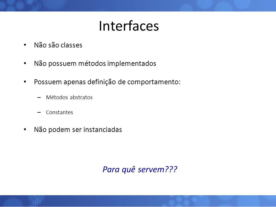 Interfaces Para quê servem Não são classes
