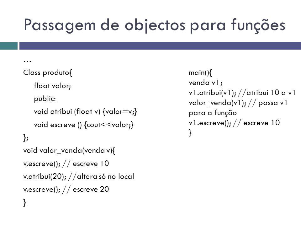 Passagem de objectos para funções