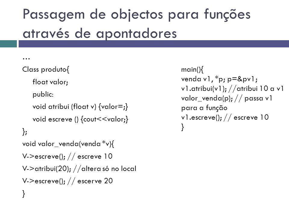 Passagem de objectos para funções através de apontadores