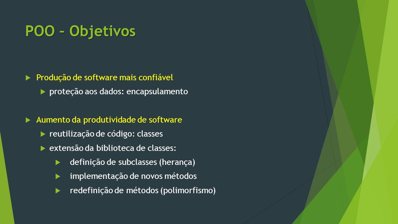 POO – Objetivos Produção de software mais confiável