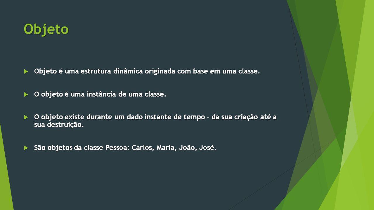 Objeto Objeto é uma estrutura dinâmica originada com base em uma classe. O objeto é uma instância de uma classe.