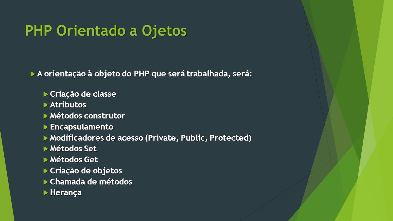 PHP Orientado a Ojetos A orientação à objeto do PHP que será trabalhada, será: Criação de classe. Atributos.