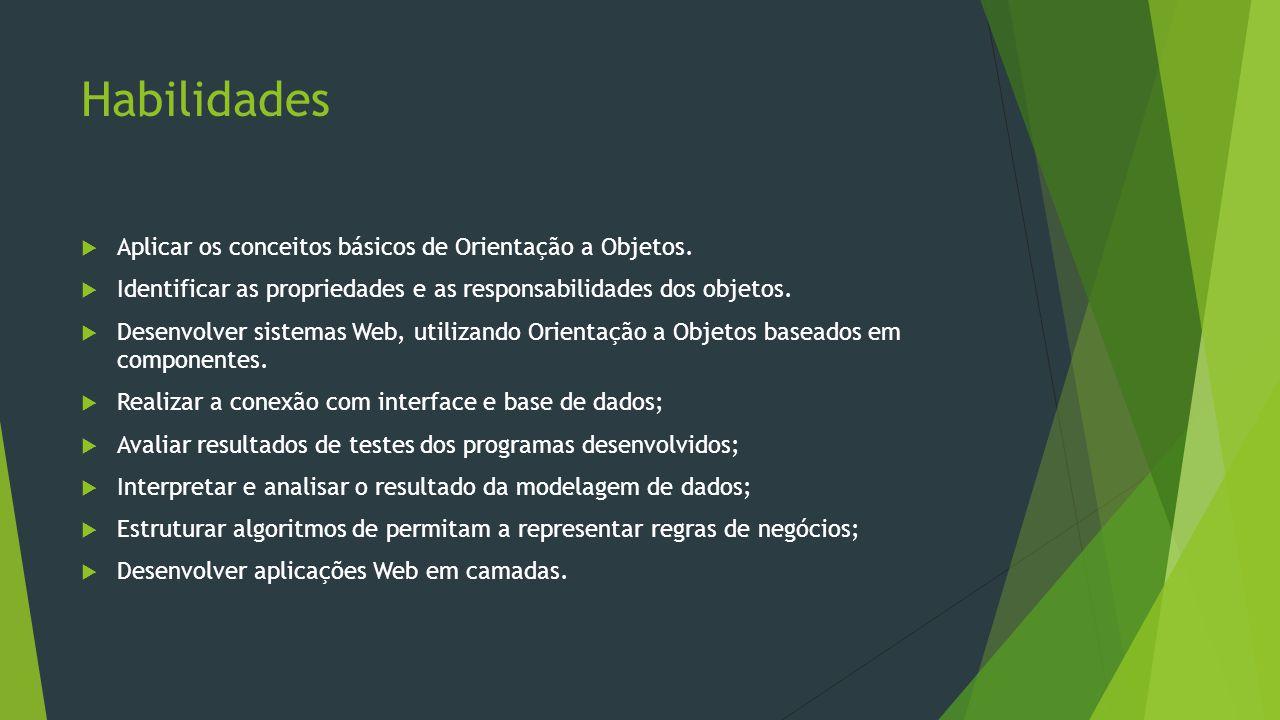 Habilidades Aplicar os conceitos básicos de Orientação a Objetos.