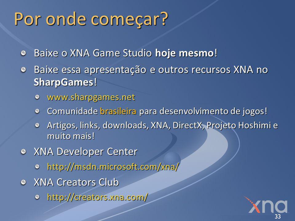 Por onde começar Baixe o XNA Game Studio hoje mesmo!