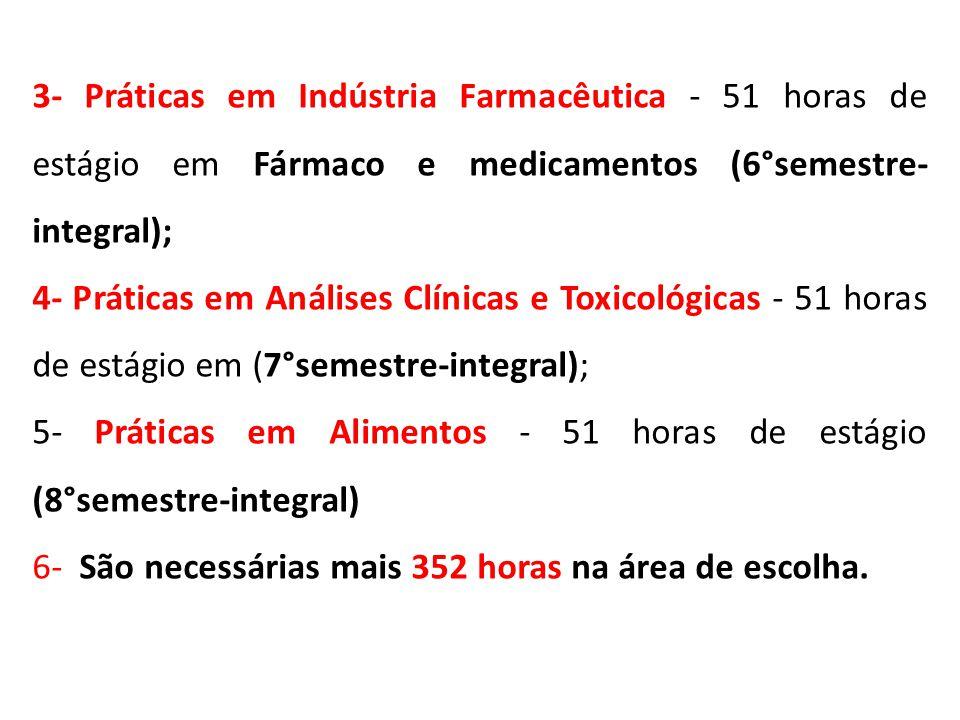 3- Práticas em Indústria Farmacêutica - 51 horas de estágio em Fármaco e medicamentos (6°semestre-integral);