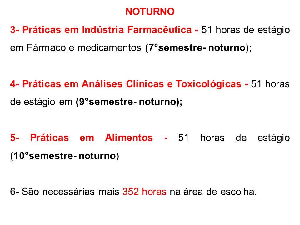 NOTURNO 3- Práticas em Indústria Farmacêutica - 51 horas de estágio em Fármaco e medicamentos (7°semestre- noturno);