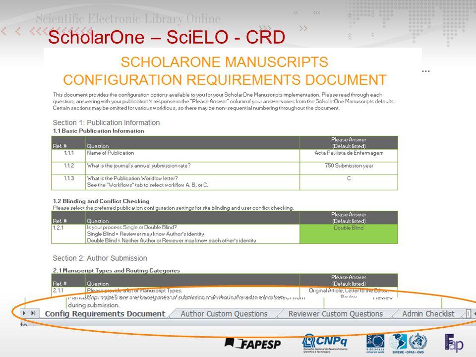 ScholarOne – SciELO - CRD