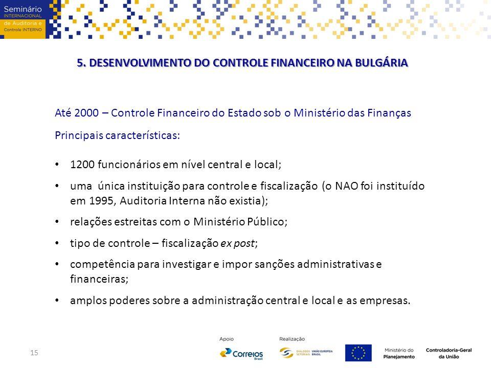 5. DESENVOLVIMENTO DO CONTROLE FINANCEIRO NA BULGÁRIA