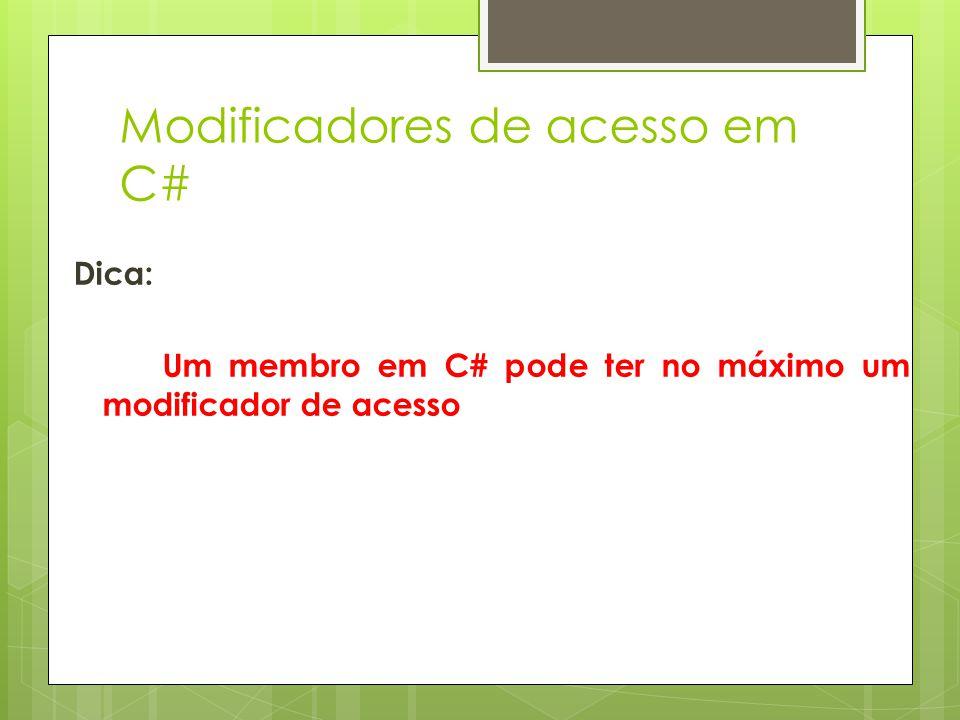 Modificadores de acesso em C#