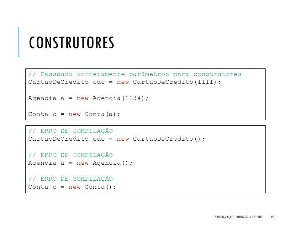 Construtores // Passando corretamente parâmetros para construtores