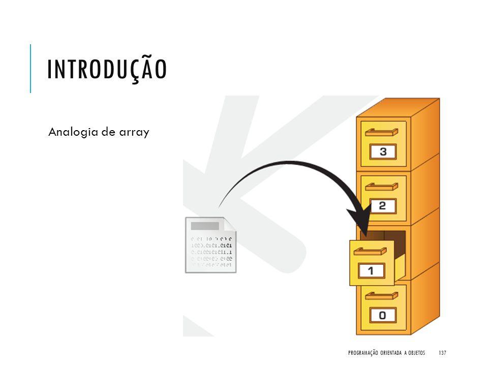 Introdução Analogia de array Programação Orientada a Objetos