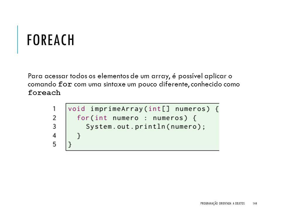 foreach Para acessar todos os elementos de um array, é possível aplicar o comando for com uma sintaxe um pouco diferente, conhecido como foreach.