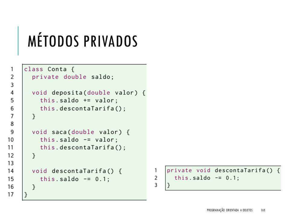 Métodos Privados Programação Orientada a Objetos