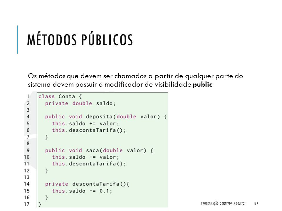 Métodos Públicos Os métodos que devem ser chamados a partir de qualquer parte do sistema devem possuir o modificador de visibilidade public.