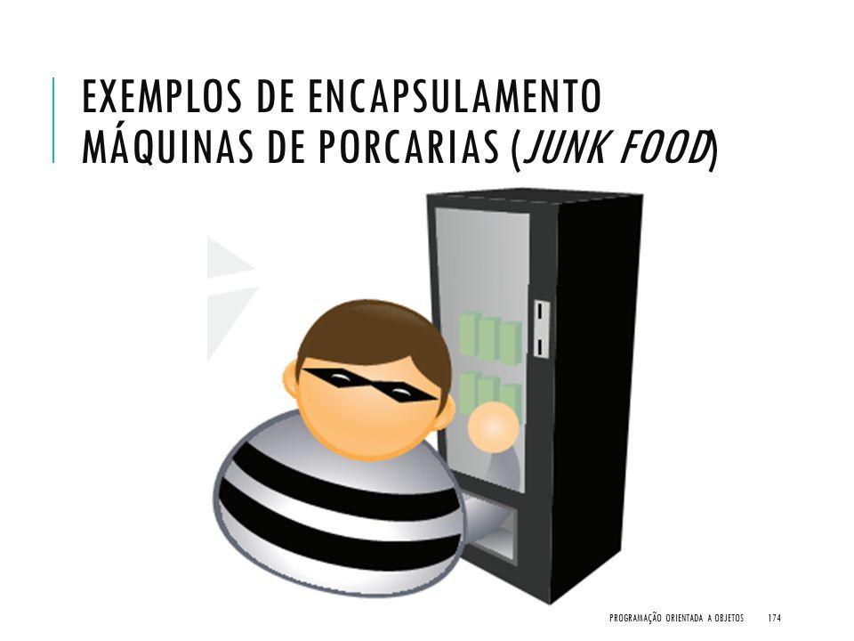 Exemplos de encapsulamento Máquinas de Porcarias (Junk Food)