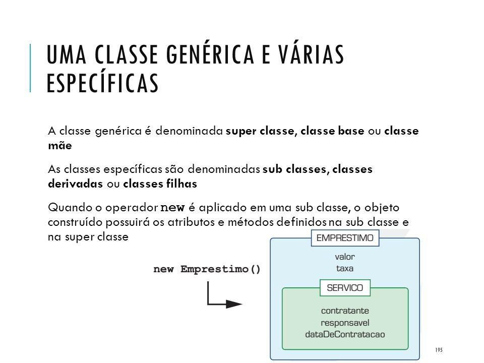 Uma classe genérica e várias específicas