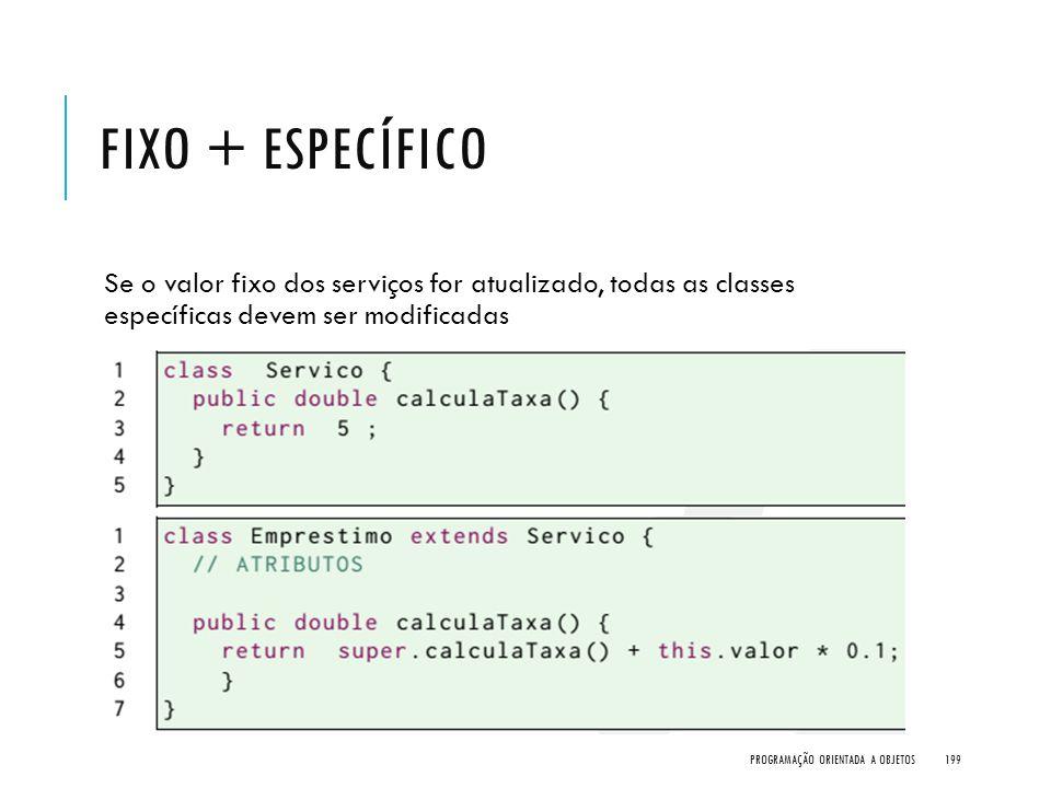 Fixo + Específico Se o valor fixo dos serviços for atualizado, todas as classes específicas devem ser modificadas.
