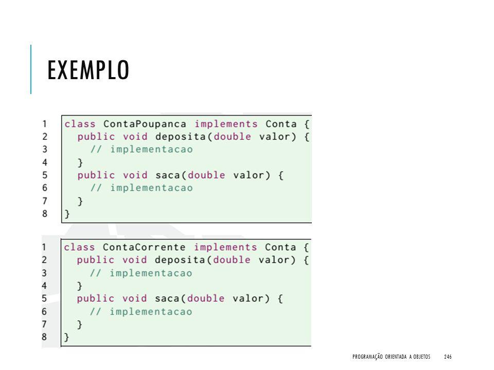 Exemplo Programação Orientada a Objetos
