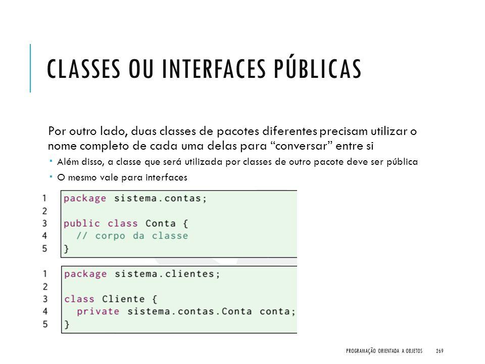 Classes ou Interfaces públicas