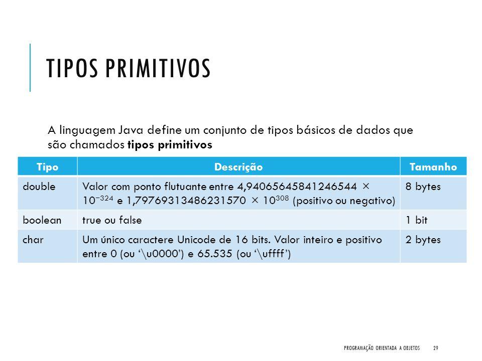 Tipos Primitivos A linguagem Java define um conjunto de tipos básicos de dados que são chamados tipos primitivos.