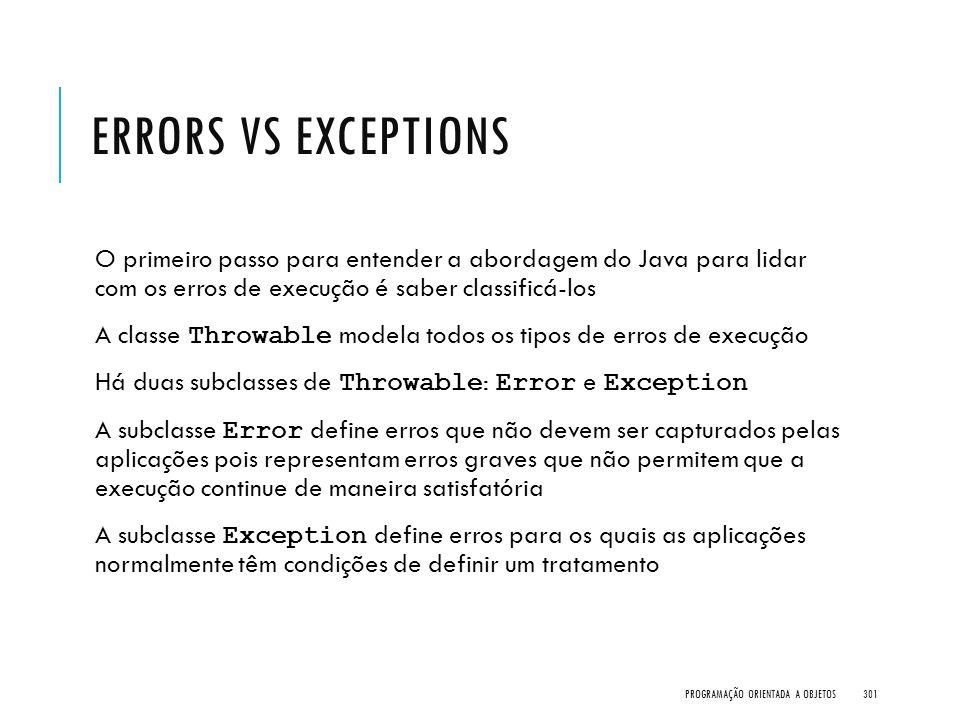 Errors vs Exceptions O primeiro passo para entender a abordagem do Java para lidar com os erros de execução é saber classificá-los.