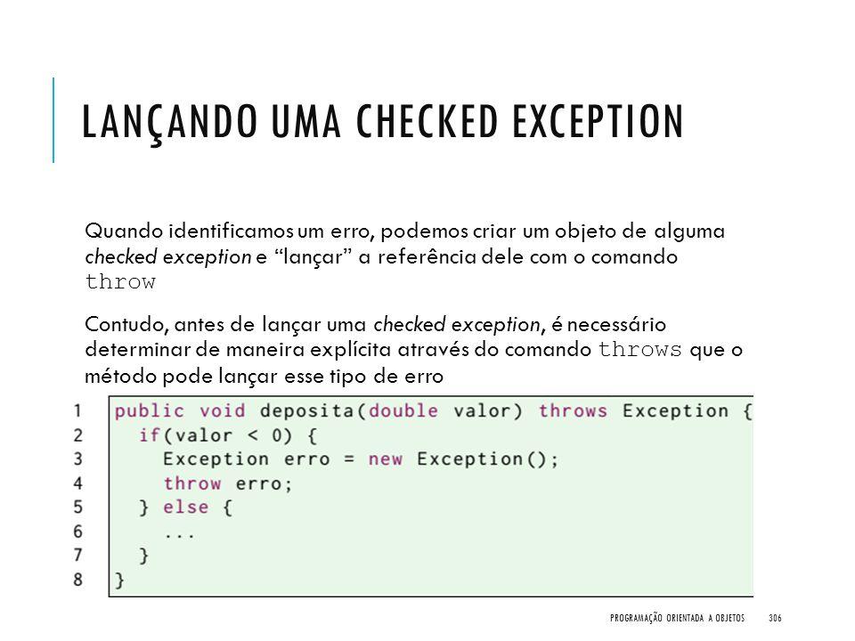 Lançando uma checked exception