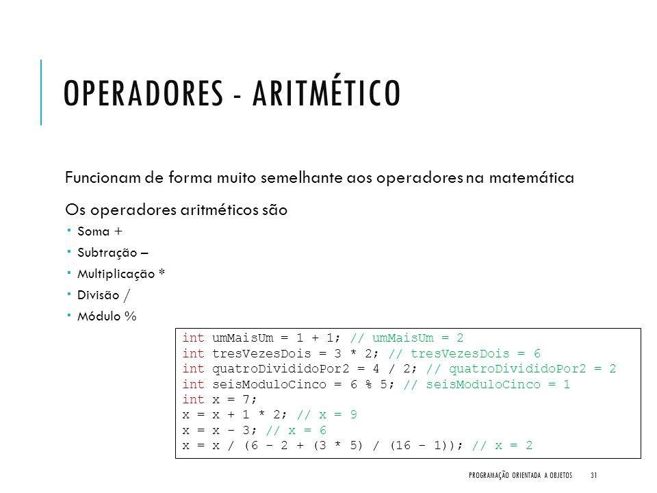 Operadores - Aritmético