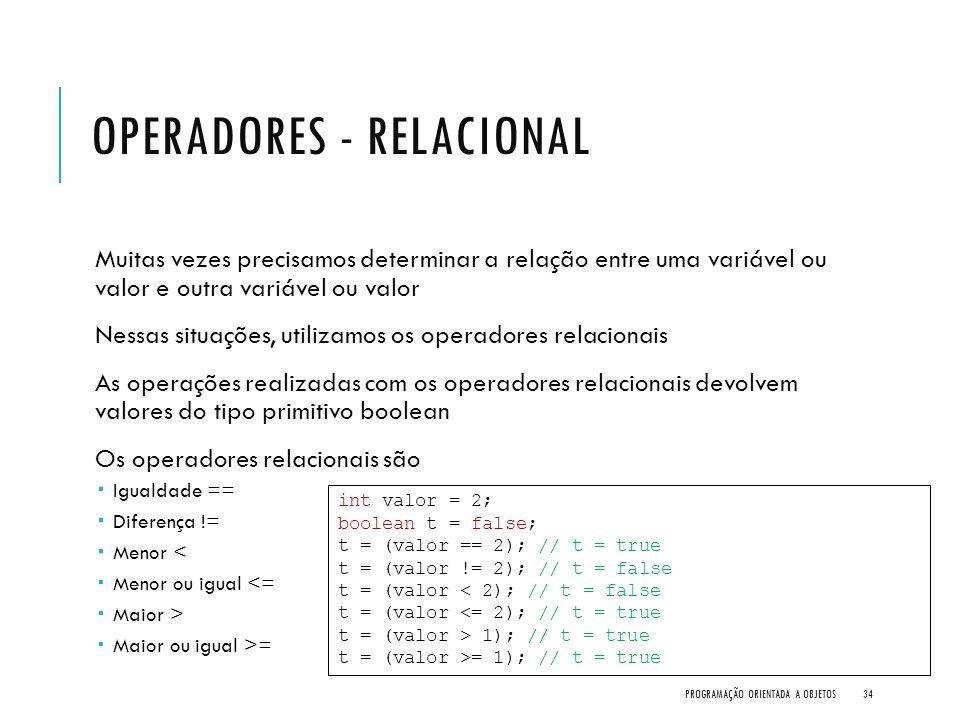Operadores - Relacional