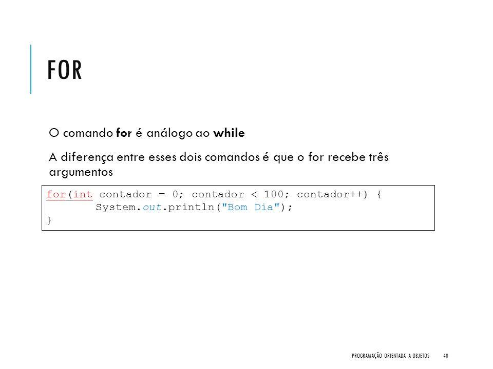 For O comando for é análogo ao while