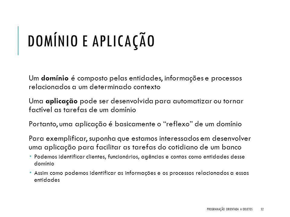 Domínio e Aplicação Um domínio é composto pelas entidades, informações e processos relacionados a um determinado contexto.