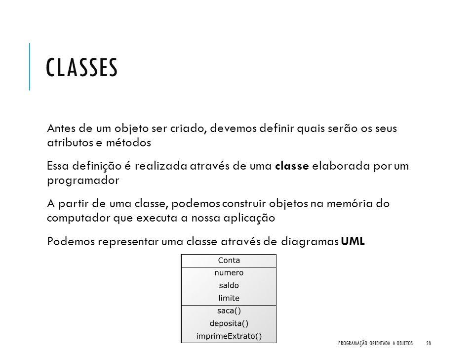 Classes Antes de um objeto ser criado, devemos definir quais serão os seus atributos e métodos.