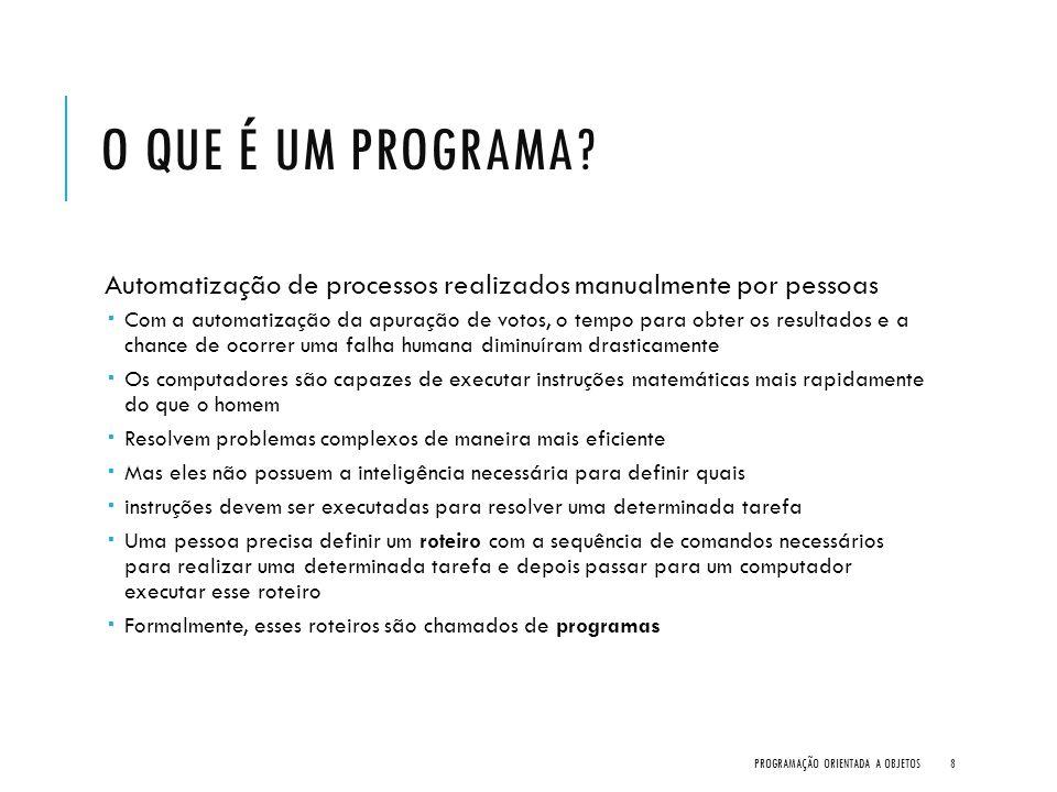 O que é um Programa Automatização de processos realizados manualmente por pessoas.