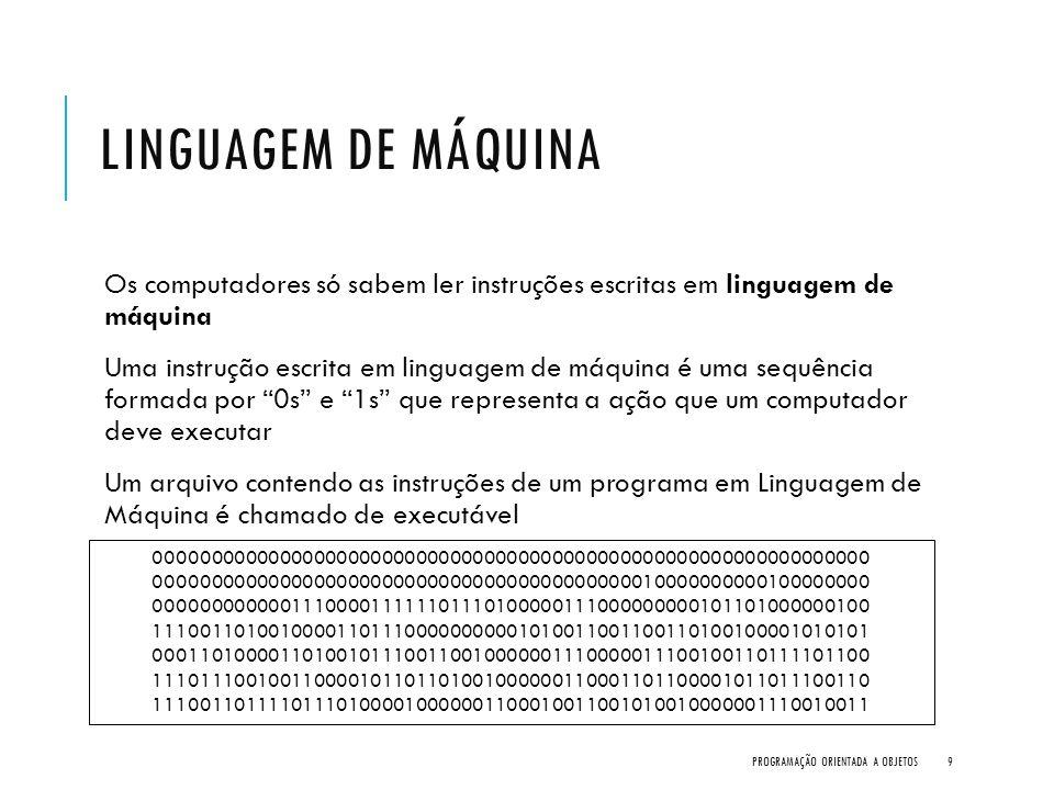 Linguagem de Máquina Os computadores só sabem ler instruções escritas em linguagem de máquina.