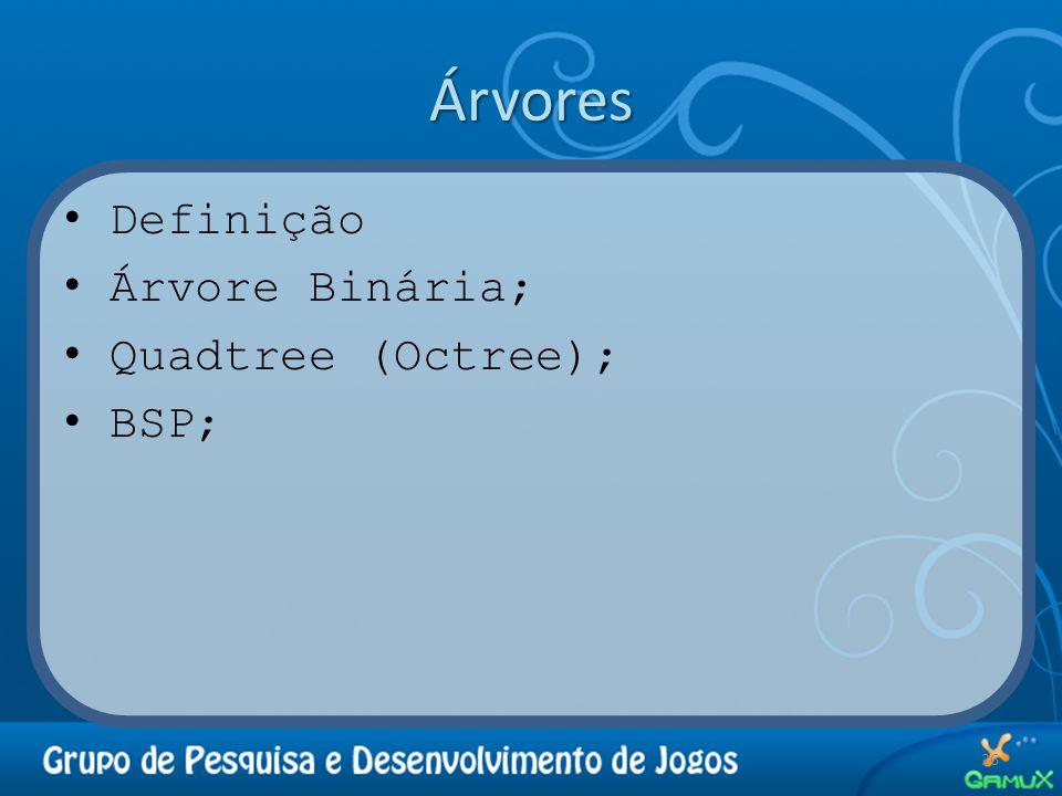 Árvores Definição Árvore Binária; Quadtree (Octree); BSP;